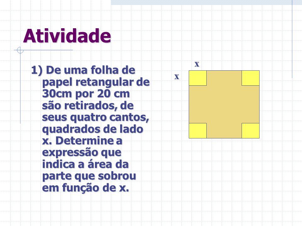 Atividade 1) De uma folha de papel retangular de 30cm por 20 cm são retirados, de seus quatro cantos, quadrados de lado x.