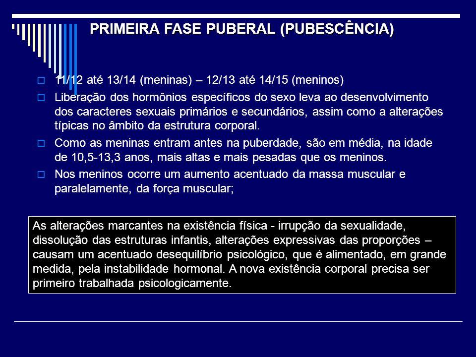 PRIMEIRA FASE PUBERAL (PUBESCÊNCIA) 11/12 até 13/14 (meninas) – 12/13 até 14/15 (meninos) Liberação dos hormônios específicos do sexo leva ao desenvolvimento dos caracteres sexuais primários e secundários, assim como a alterações típicas no âmbito da estrutura corporal.