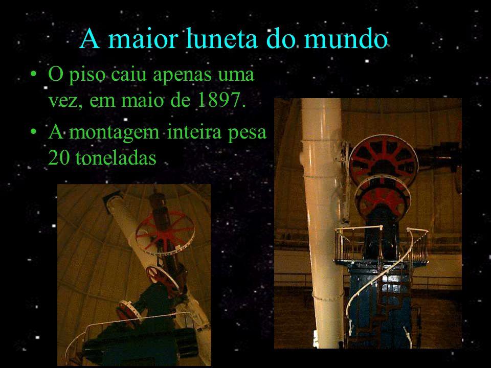 A maior luneta do mundo O tubo tem 19m, pesa 6 toneladas e 1,02m de abertura O piso tem 22m de diâmetro e é móvel.