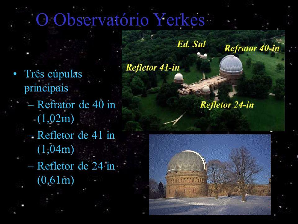 Observatório de Yerkes Inaugurado em outubro de 1897. Abriga o maior refrator já construído. Williams Bay, Wisconsin, EUA. 58 metros acima do lago Gen