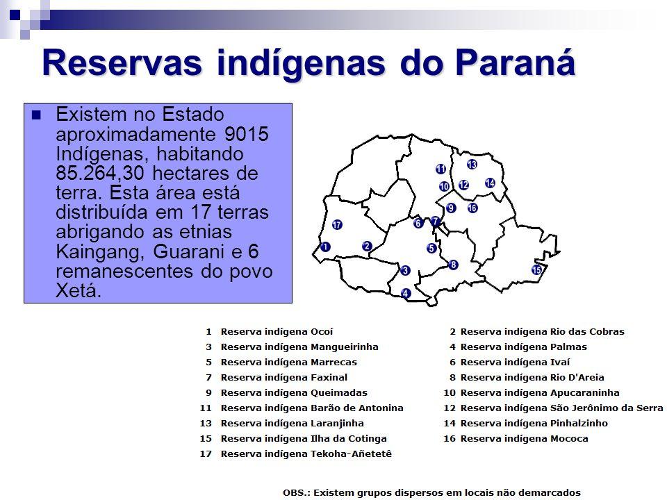 Reservas indígenas do Paraná Existem no Estado aproximadamente 9015 Indígenas, habitando 85.264,30 hectares de terra. Esta área está distribuída em 17