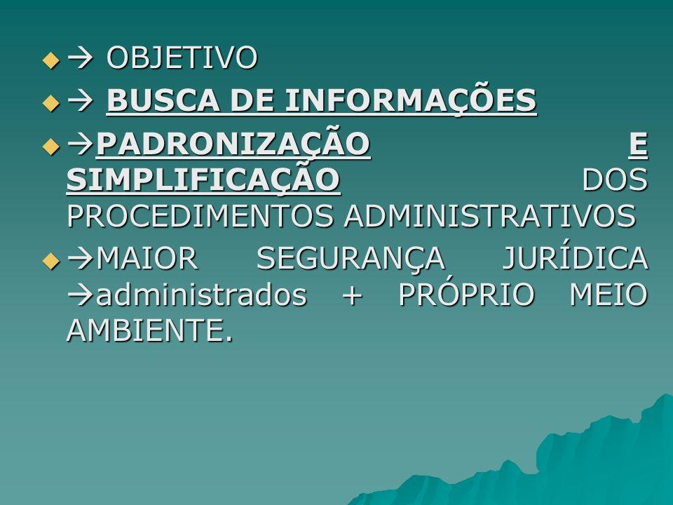OBJETIVO OBJETIVO BUSCA DE INFORMAÇÕES BUSCA DE INFORMAÇÕES PADRONIZAÇÃO E SIMPLIFICAÇÃO DOS PROCEDIMENTOS ADMINISTRATIVOS PADRONIZAÇÃO E SIMPLIFICAÇÃ