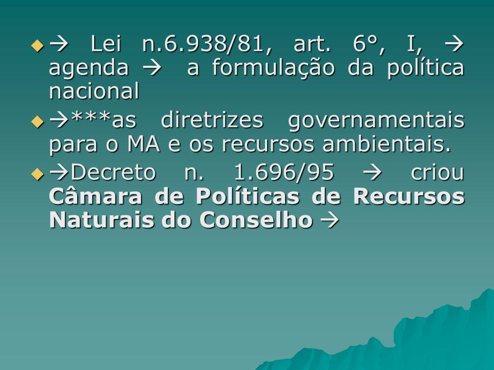 Lei n.6.938/81, art. 6°, I, agenda a formulação da política nacional Lei n.6.938/81, art. 6°, I, agenda a formulação da política nacional ***as diretr