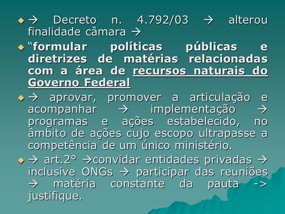 Decreto n. 4.792/03 alterou finalidade câmara Decreto n. 4.792/03 alterou finalidade câmara formular políticas públicas e diretrizes de matérias relac