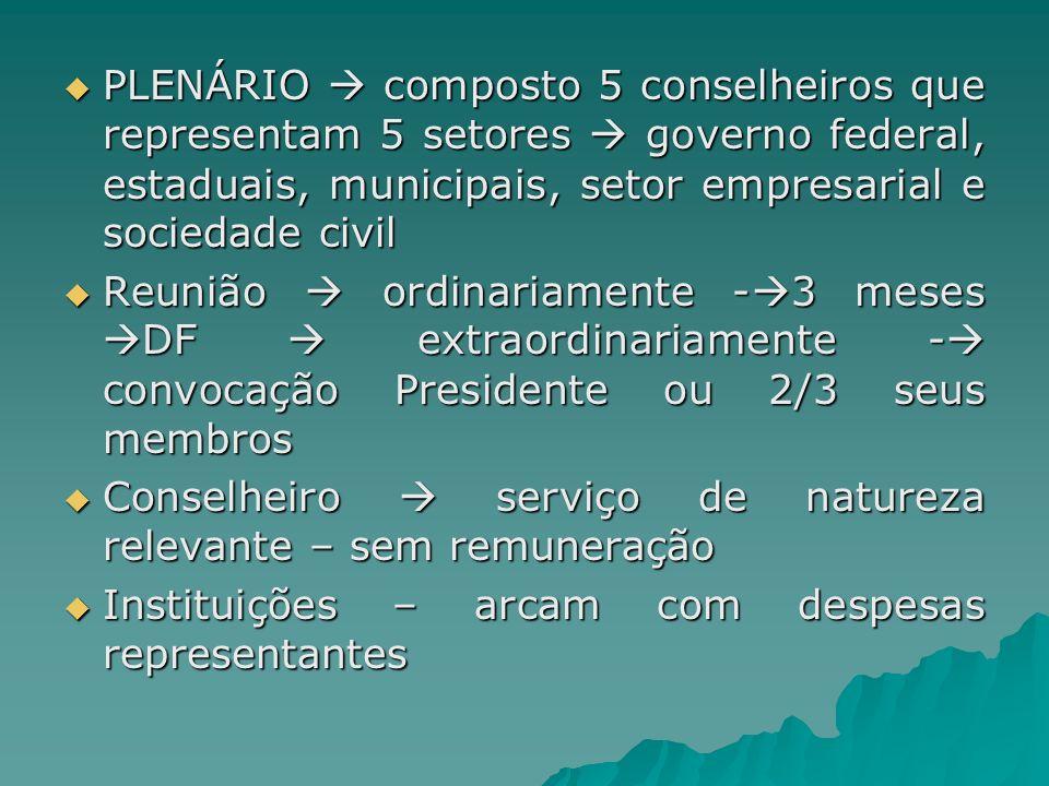 PLENÁRIO composto 5 conselheiros que representam 5 setores governo federal, estaduais, municipais, setor empresarial e sociedade civil PLENÁRIO compos