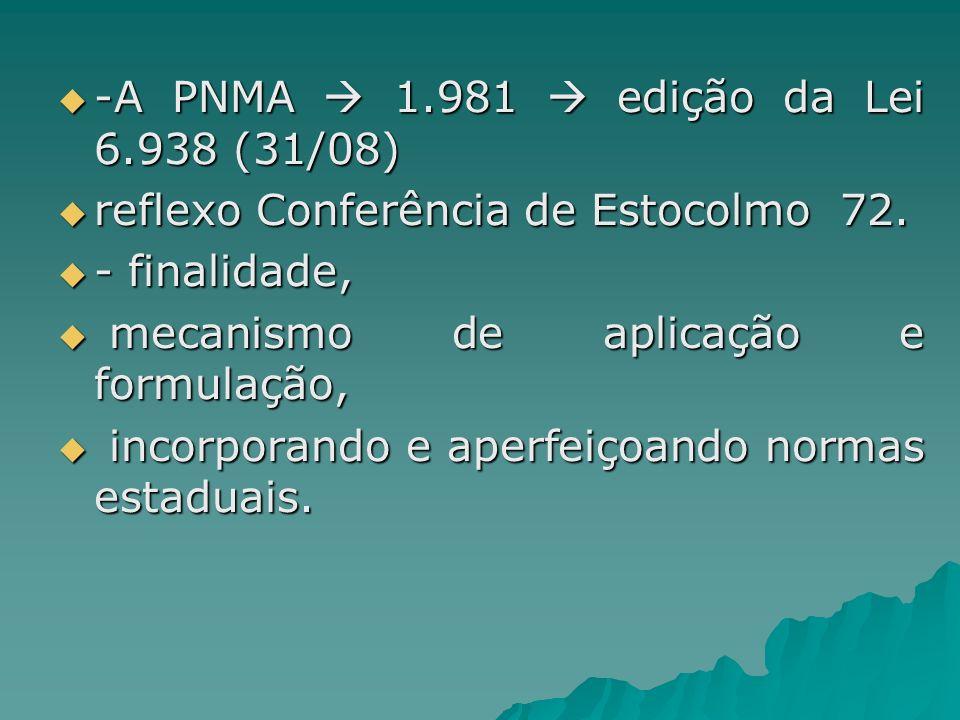 -A PNMA 1.981 edição da Lei 6.938 (31/08) -A PNMA 1.981 edição da Lei 6.938 (31/08) reflexo Conferência de Estocolmo 72. reflexo Conferência de Estoco