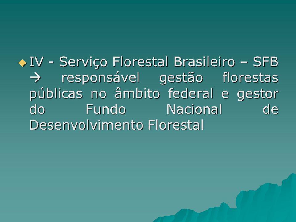 IV - Serviço Florestal Brasileiro – SFB responsável gestão florestas públicas no âmbito federal e gestor do Fundo Nacional de Desenvolvimento Floresta