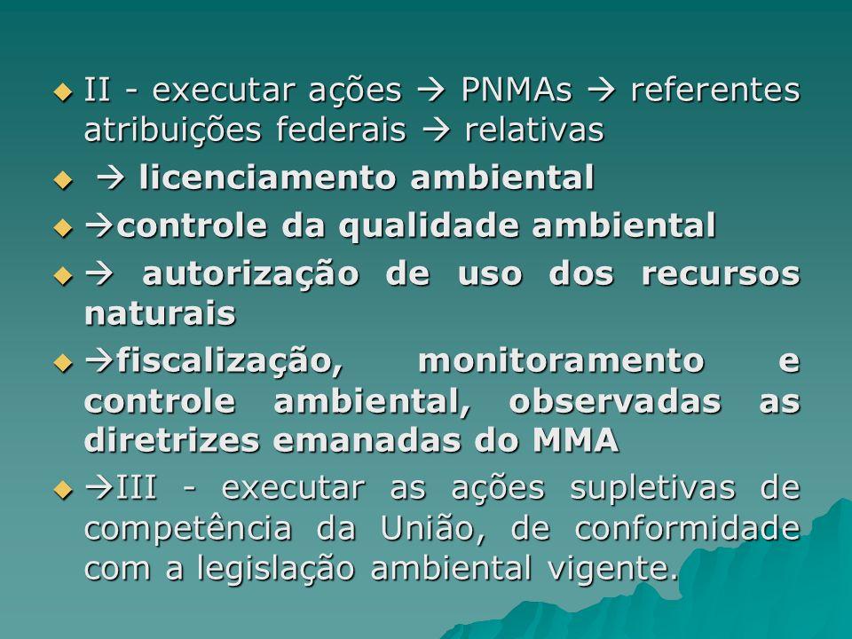 II - executar ações PNMAs referentes atribuições federais relativas II - executar ações PNMAs referentes atribuições federais relativas licenciamento