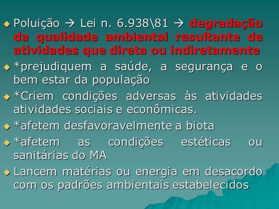 Poluição Lei n. 6.938\81 degradação da qualidade ambiental resultante de atividades que direta ou indiretamente Poluição Lei n. 6.938\81 degradação da