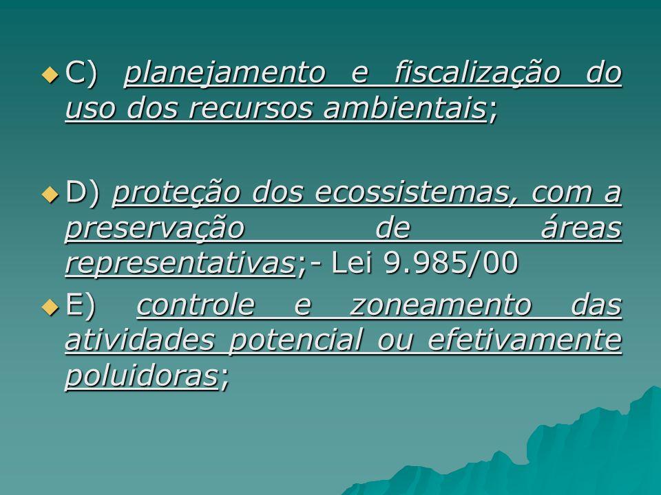 C) planejamento e fiscalização do uso dos recursos ambientais; C) planejamento e fiscalização do uso dos recursos ambientais; D) proteção dos ecossist