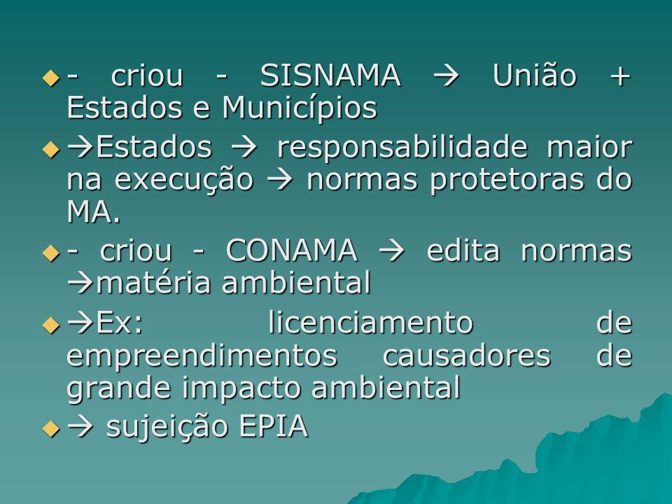 - criou - SISNAMA União + Estados e Municípios - criou - SISNAMA União + Estados e Municípios Estados responsabilidade maior na execução normas protet