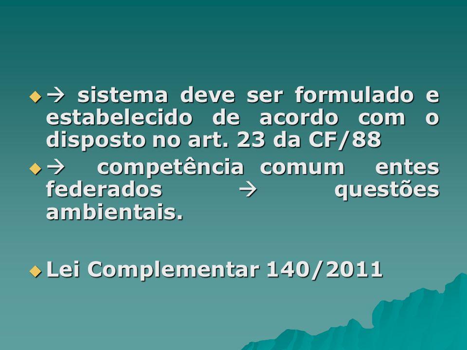 sistema deve ser formulado e estabelecido de acordo com o disposto no art. 23 da CF/88 sistema deve ser formulado e estabelecido de acordo com o dispo