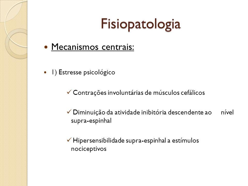 Fisiopatologia Mecanismos centrais: 1) Estresse psicológico Contrações involuntárias de músculos cefálicos Diminuição da atividade inibitória descende
