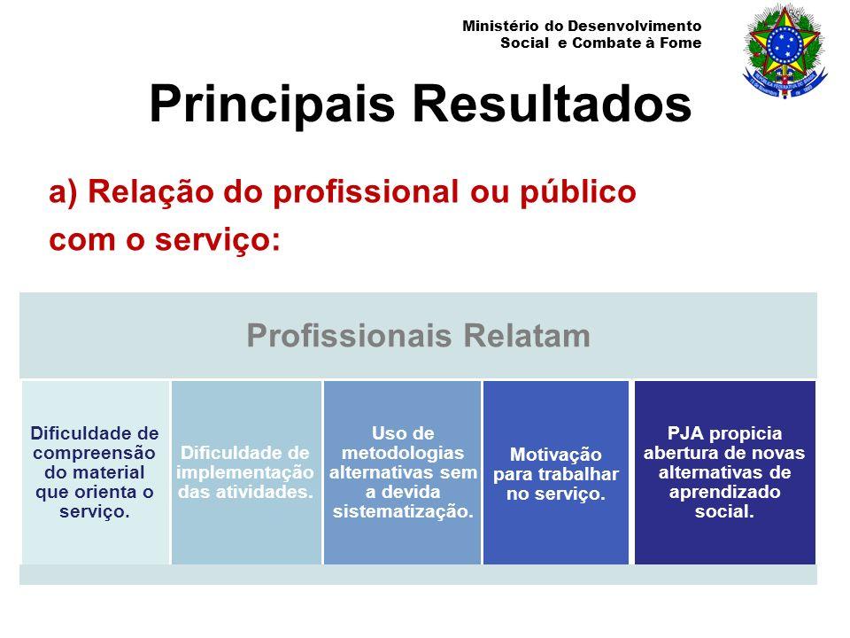 Ministério do Desenvolvimento Social e Combate à Fome Principais Resultados a) Relação do profissional ou público com o serviço: Profissionais Relatam