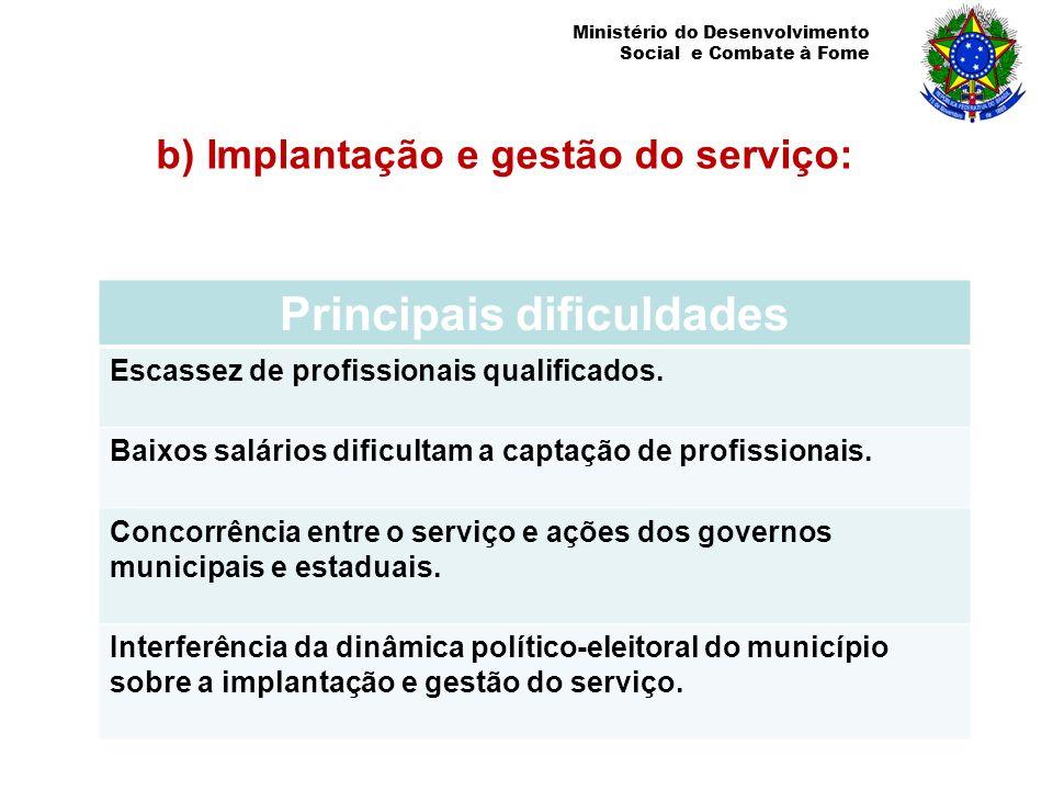 Ministério do Desenvolvimento Social e Combate à Fome b) Implantação e gestão do serviço: Principais dificuldades Escassez de profissionais qualificad