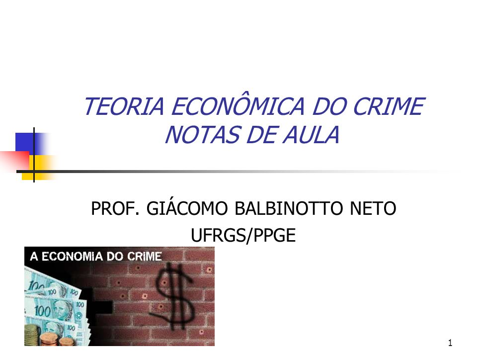 72 Crime & Punição Modelo Econômico Dado e, o problema do criminoso é dado por: A condição de primeira ordem: Baixo e baixo (e) custos marginais baixos.