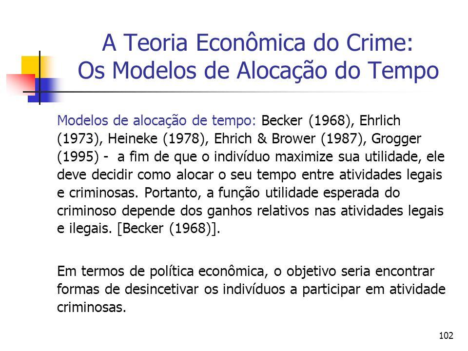 102 A Teoria Econômica do Crime: Os Modelos de Alocação do Tempo Modelos de alocação de tempo: Becker (1968), Ehrlich (1973), Heineke (1978), Ehrich &
