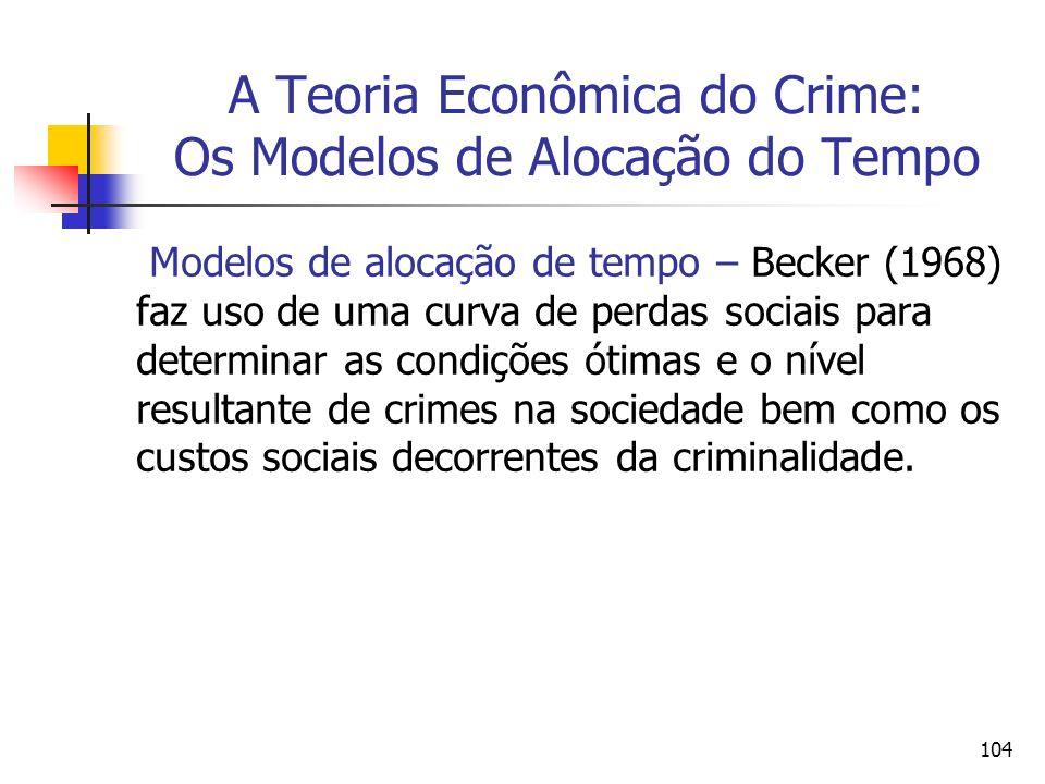 104 A Teoria Econômica do Crime: Os Modelos de Alocação do Tempo Modelos de alocação de tempo – Becker (1968) faz uso de uma curva de perdas sociais p