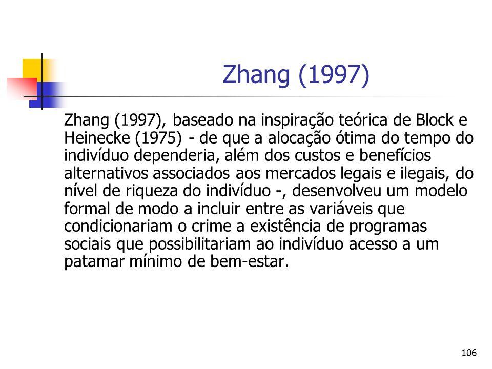 106 Zhang (1997) Zhang (1997), baseado na inspiração teórica de Block e Heinecke (1975) - de que a alocação ótima do tempo do indivíduo dependeria, al