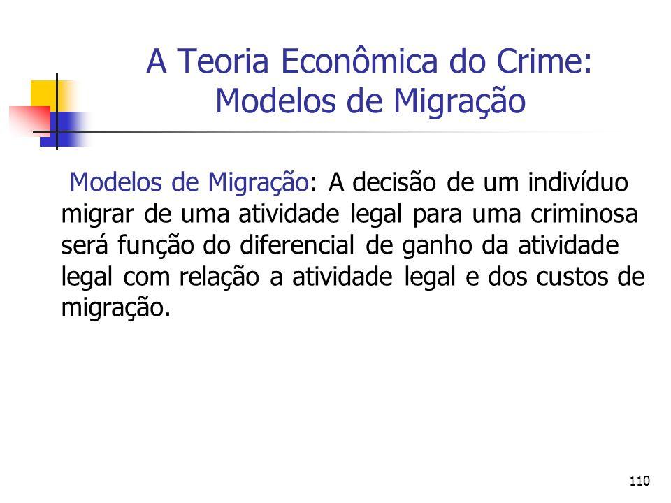 110 A Teoria Econômica do Crime: Modelos de Migração Modelos de Migração: A decisão de um indivíduo migrar de uma atividade legal para uma criminosa s