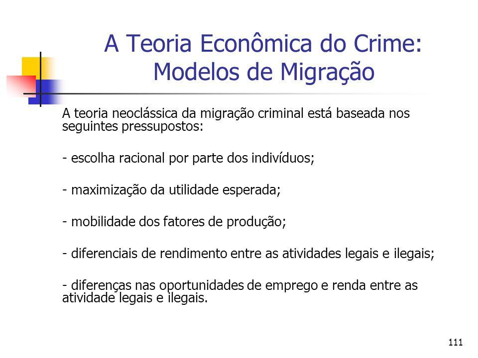 111 A Teoria Econômica do Crime: Modelos de Migração A teoria neoclássica da migração criminal está baseada nos seguintes pressupostos: - escolha raci