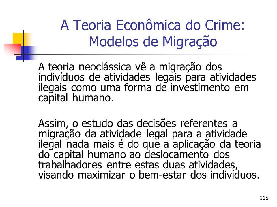 115 A Teoria Econômica do Crime: Modelos de Migração A teoria neoclássica vê a migração dos indivíduos de atividades legais para atividades ilegais co