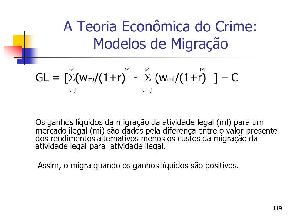 119 A Teoria Econômica do Crime: Modelos de Migração 64 t-j 64 t-j GL = [ (w mi /(1+r) - (w ml /(1+r) ] – C t=j t = j Os ganhos líquidos da migração d