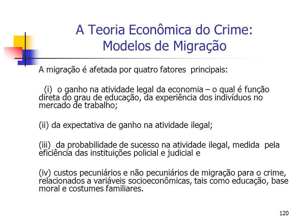120 A Teoria Econômica do Crime: Modelos de Migração A migração é afetada por quatro fatores principais: (i) o ganho na atividade legal da economia –