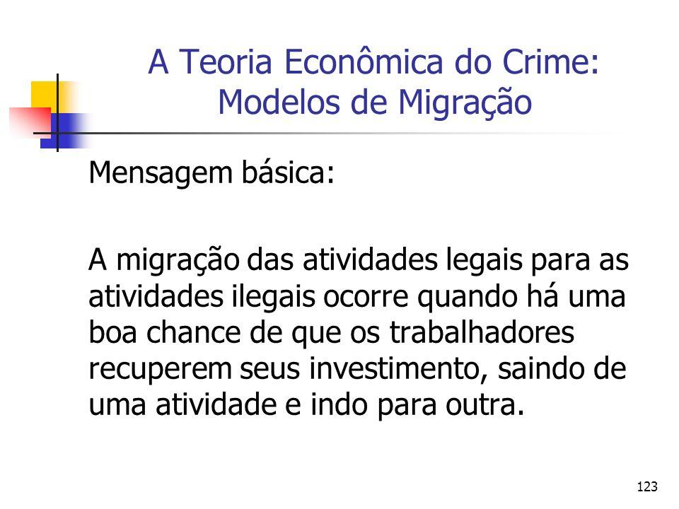 123 A Teoria Econômica do Crime: Modelos de Migração Mensagem básica: A migração das atividades legais para as atividades ilegais ocorre quando há uma