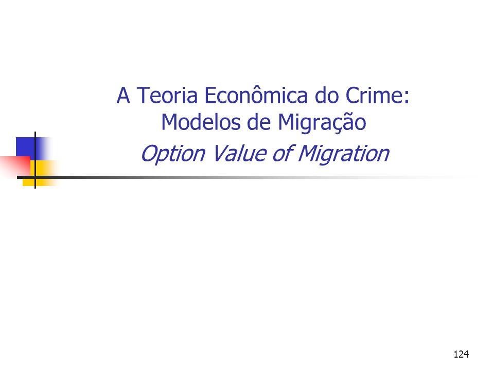 124 A Teoria Econômica do Crime: Modelos de Migração Option Value of Migration