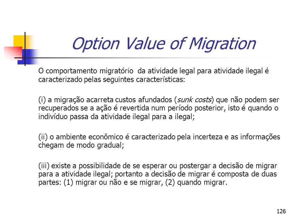 126 Option Value of Migration O comportamento migratório da atividade legal para atividade ilegal é caracterizado pelas seguintes características: (i)