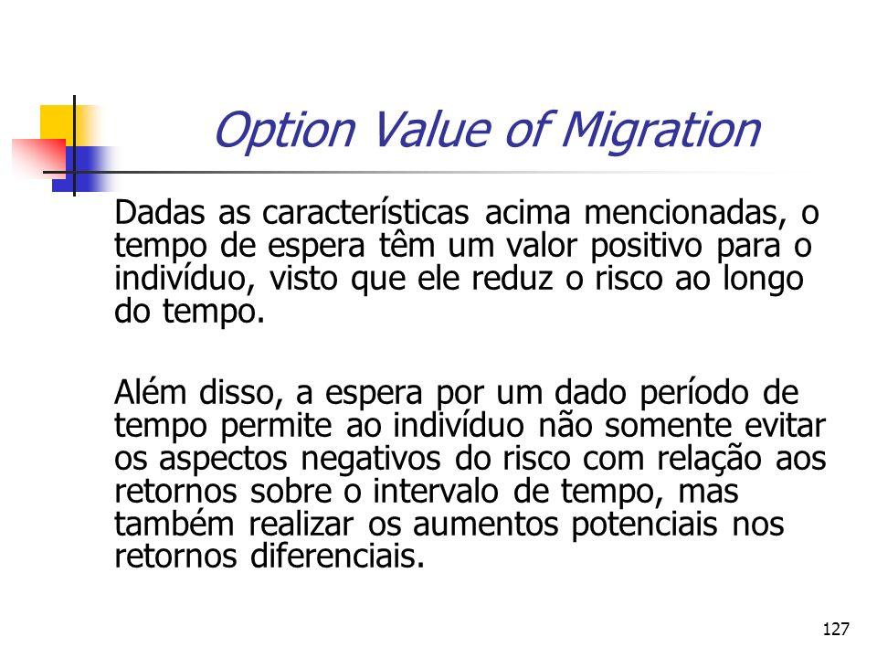 127 Option Value of Migration Dadas as características acima mencionadas, o tempo de espera têm um valor positivo para o indivíduo, visto que ele redu