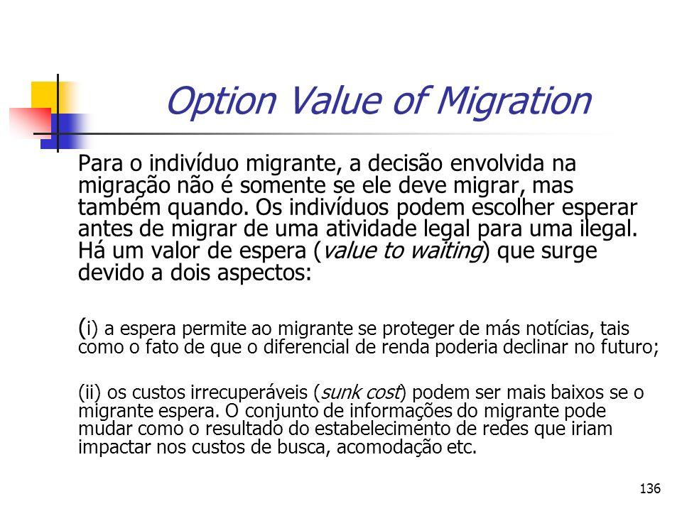 136 Option Value of Migration Para o indivíduo migrante, a decisão envolvida na migração não é somente se ele deve migrar, mas também quando. Os indiv