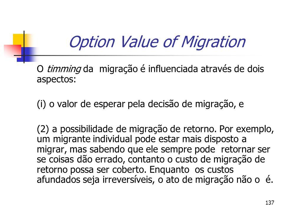 137 Option Value of Migration O timming da migração é influenciada através de dois aspectos: (i) o valor de esperar pela decisão de migração, e (2) a