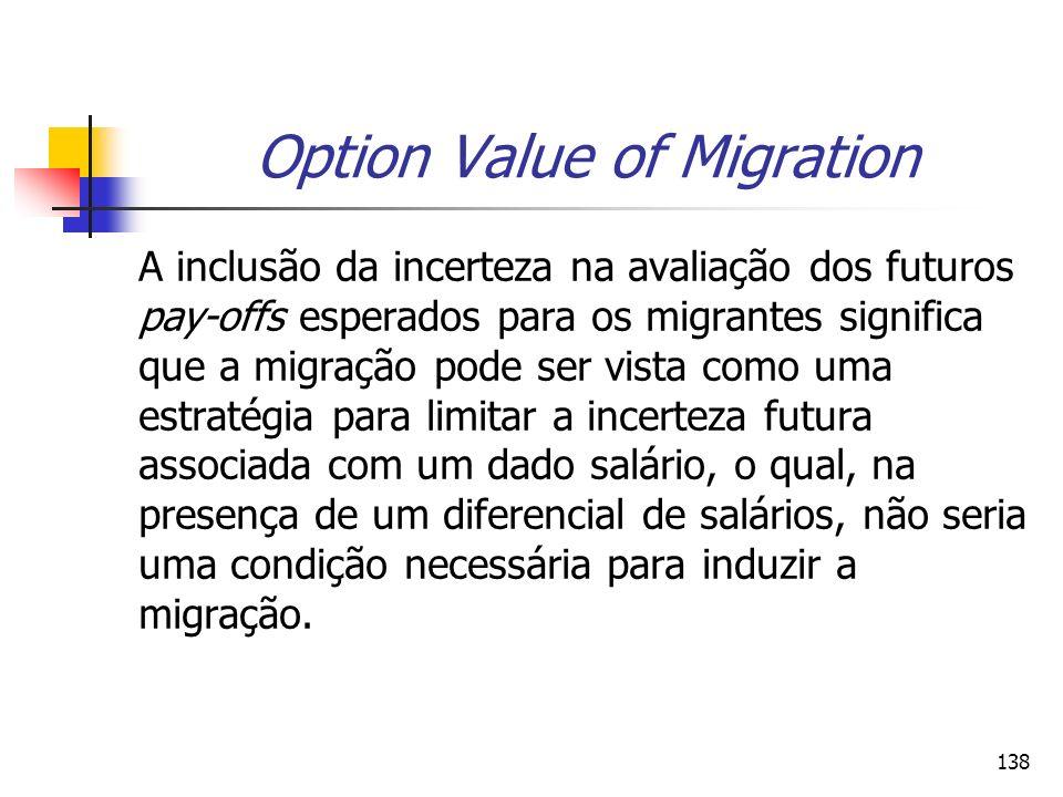 138 Option Value of Migration A inclusão da incerteza na avaliação dos futuros pay-offs esperados para os migrantes significa que a migração pode ser