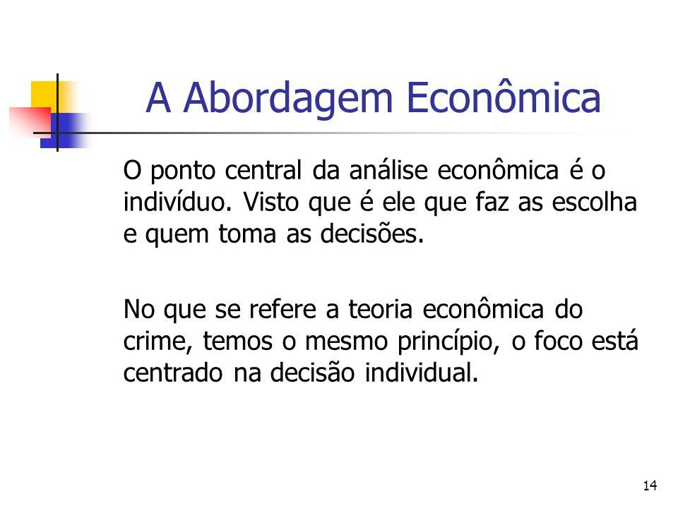 14 A Abordagem Econômica O ponto central da análise econômica é o indivíduo. Visto que é ele que faz as escolha e quem toma as decisões. No que se ref