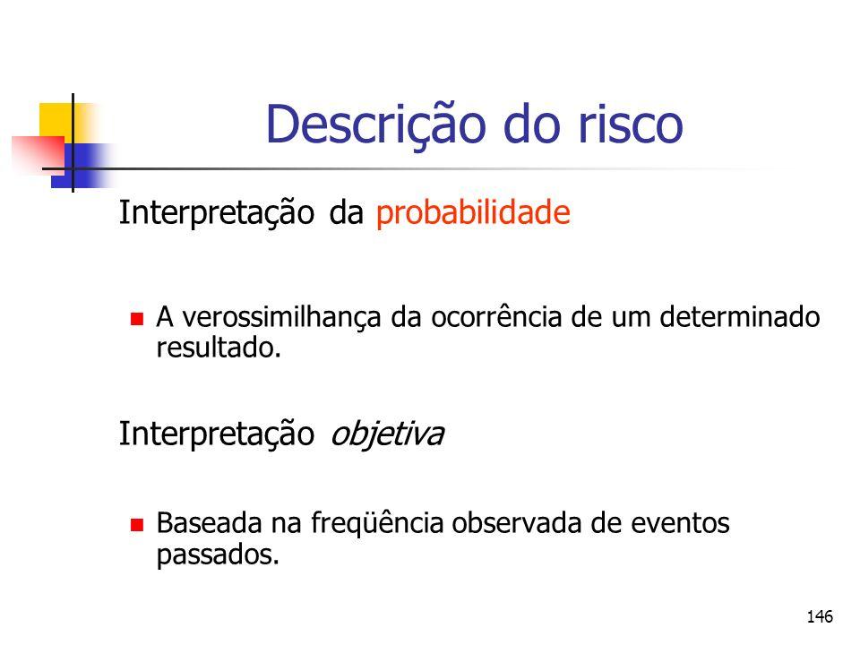 146 Descrição do risco Interpretação da probabilidade A verossimilhança da ocorrência de um determinado resultado. Interpretação objetiva Baseada na f