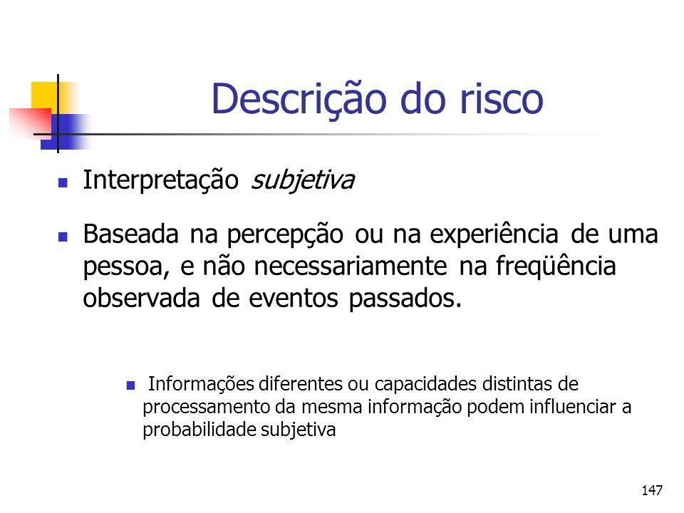 147 Descrição do risco Interpretação subjetiva Baseada na percepção ou na experiência de uma pessoa, e não necessariamente na freqüência observada de