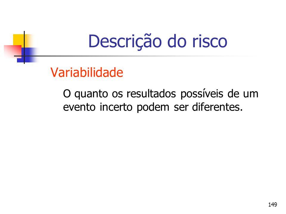 149 Descrição do risco Variabilidade O quanto os resultados possíveis de um evento incerto podem ser diferentes.