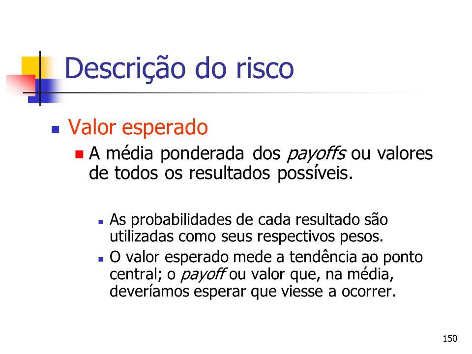150 Descrição do risco Valor esperado A média ponderada dos payoffs ou valores de todos os resultados possíveis. As probabilidades de cada resultado s