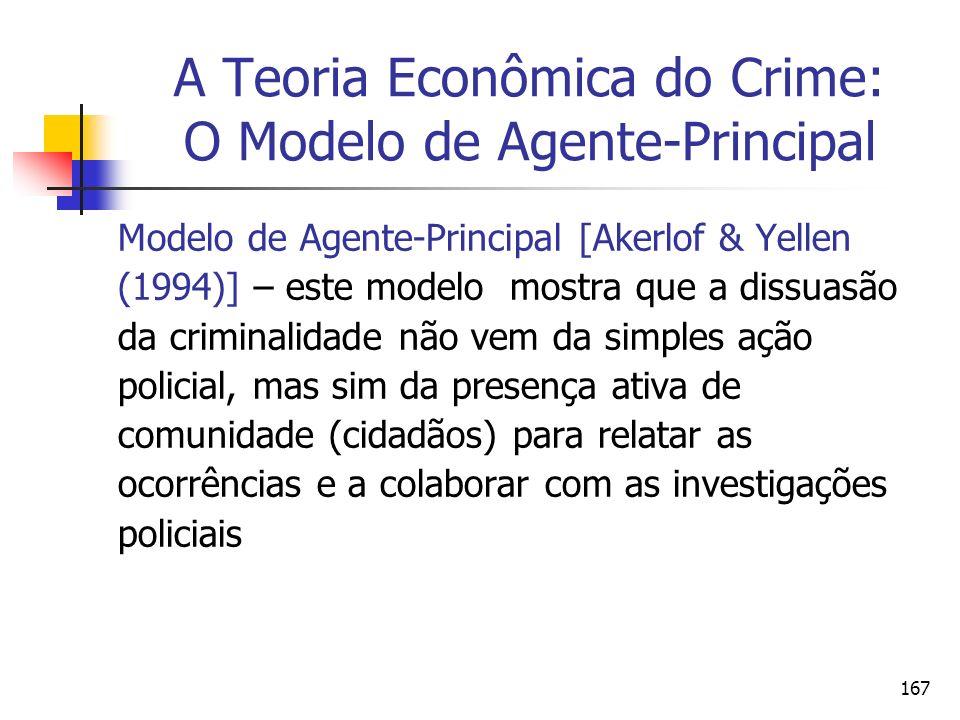 167 A Teoria Econômica do Crime: O Modelo de Agente-Principal Modelo de Agente-Principal [Akerlof & Yellen (1994)] – este modelo mostra que a dissuasã