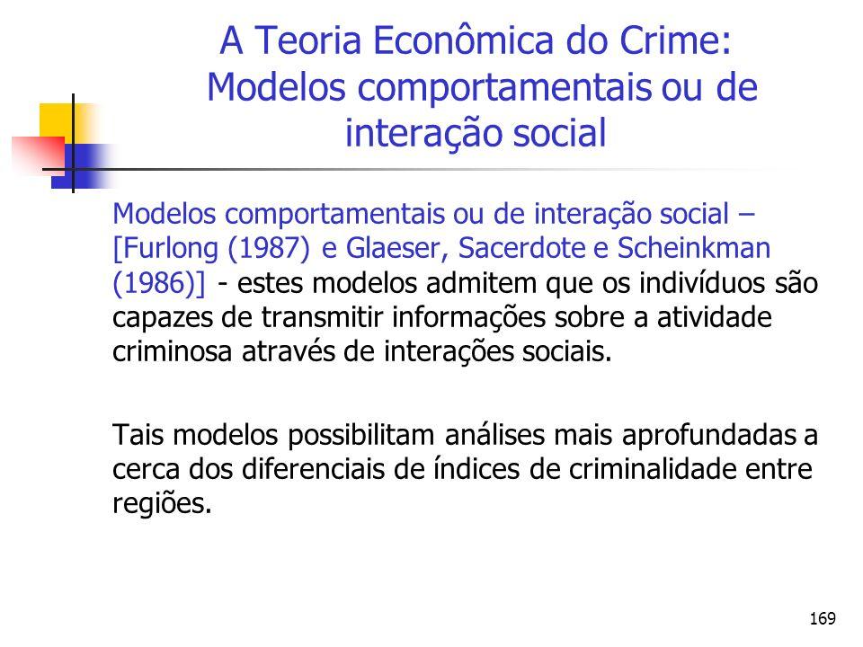 169 A Teoria Econômica do Crime: Modelos comportamentais ou de interação social Modelos comportamentais ou de interação social – [Furlong (1987) e Gla