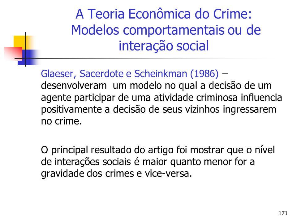 171 A Teoria Econômica do Crime: Modelos comportamentais ou de interação social Glaeser, Sacerdote e Scheinkman (1986) – desenvolveram um modelo no qu