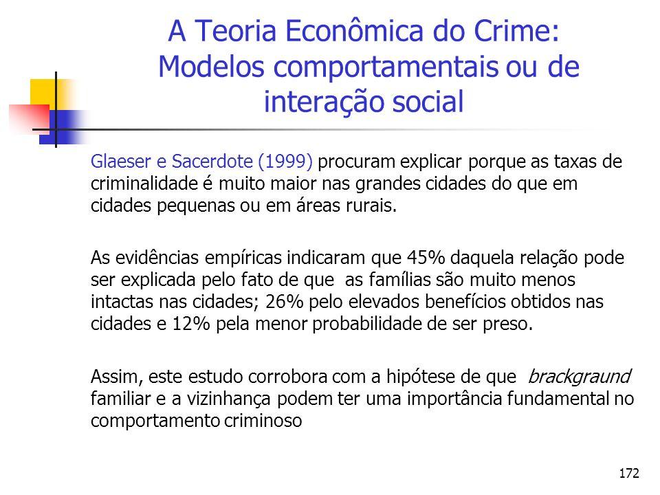 172 A Teoria Econômica do Crime: Modelos comportamentais ou de interação social Glaeser e Sacerdote (1999) procuram explicar porque as taxas de crimin
