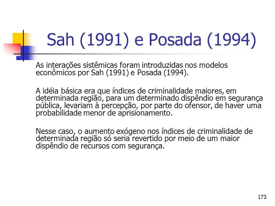 173 Sah (1991) e Posada (1994) As interações sistêmicas foram introduzidas nos modelos econômicos por Sah (1991) e Posada (1994). A idéia básica era q