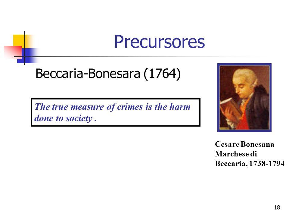 18 Precursores Beccaria-Bonesara (1764) Cesare Bonesana Marchese di Beccaria, 1738-1794 The true measure of crimes is the harm done to society.