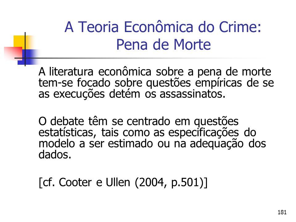 181 A Teoria Econômica do Crime: Pena de Morte A literatura econômica sobre a pena de morte tem-se focado sobre questões empíricas de se as execuções