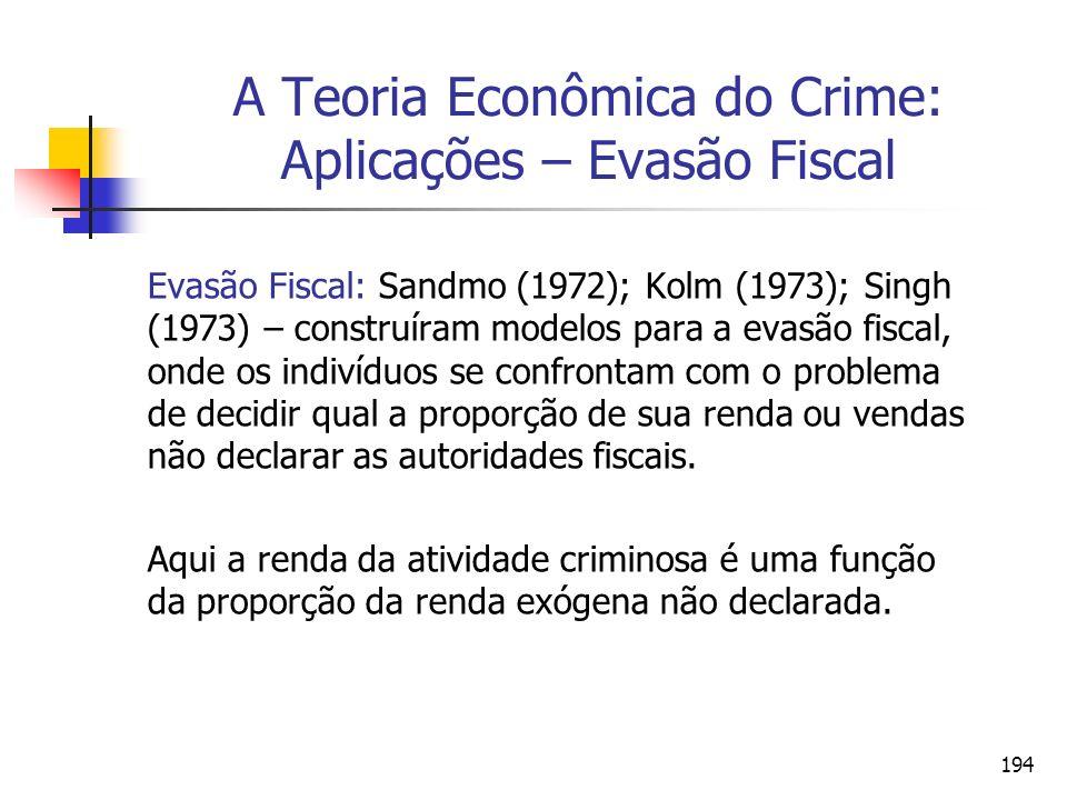 194 A Teoria Econômica do Crime: Aplicações – Evasão Fiscal Evasão Fiscal: Sandmo (1972); Kolm (1973); Singh (1973) – construíram modelos para a evasã
