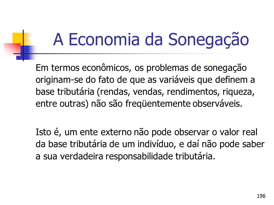 196 A Economia da Sonegação Em termos econômicos, os problemas de sonegação originam-se do fato de que as variáveis que definem a base tributária (ren