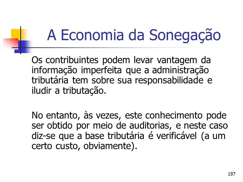 197 A Economia da Sonegação Os contribuintes podem levar vantagem da informação imperfeita que a administração tributária tem sobre sua responsabilida
